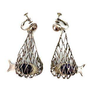 Mark Carsi Sterling Fish Net Dangling Earrings
